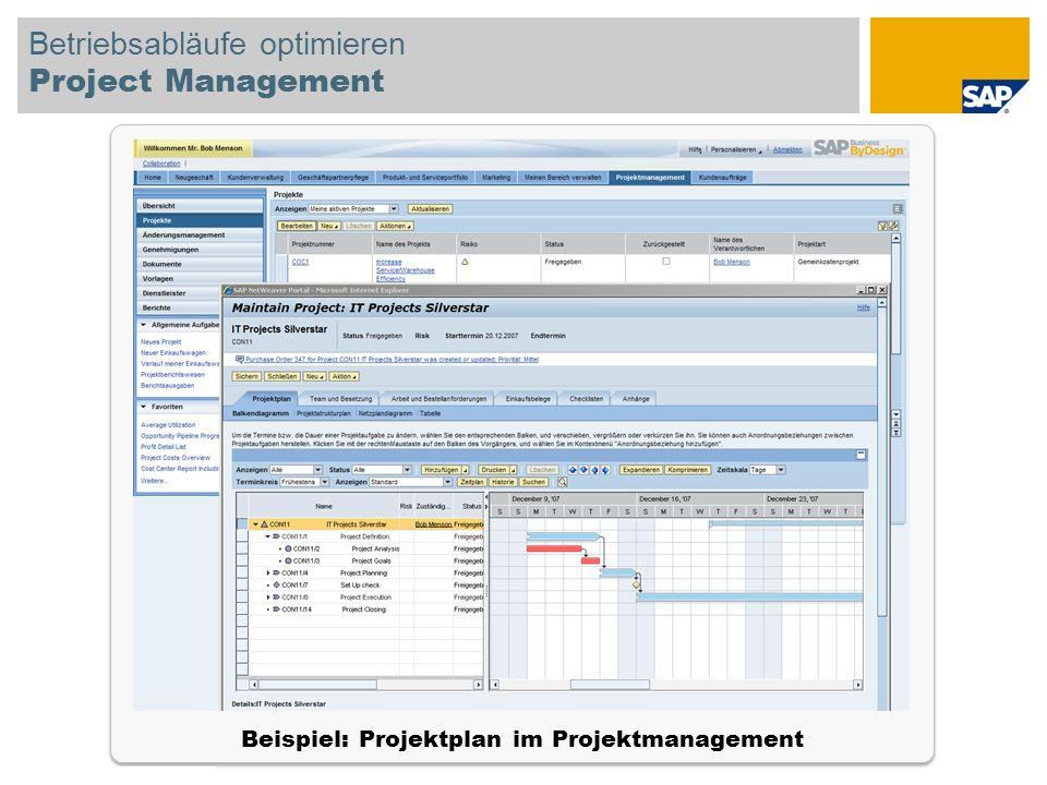 © SAP 2008 SAP-IBIS-Tagung / Seite 21 Betriebsabläufe optimieren Project Management Beispiel: Projektplan im Projektmanagement