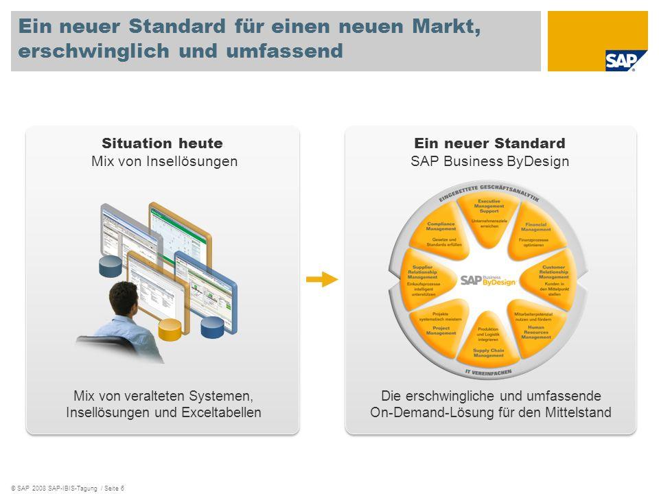 © SAP 2008 SAP-IBIS-Tagung / Seite 6 Situation heute Mix von Insellösungen Ein neuer Standard für einen neuen Markt, erschwinglich und umfassend Mix v