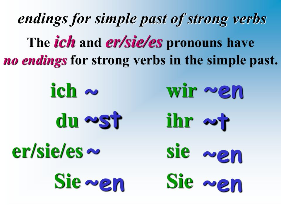 ich ich du duer/sie/es Sie Sie endings for simple past of strong verbs wirihrsieSie~~ icher/sie/es The ich and er/sie/es pronouns have no endings no e