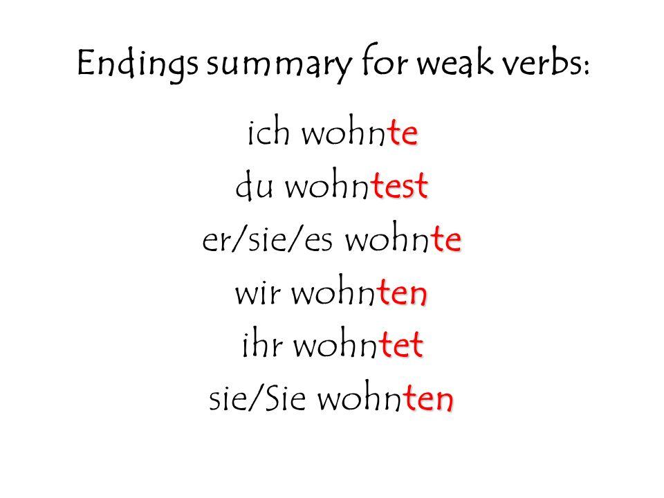 Endings summary for weak verbs: te ich wohnte test du wohntest te er/sie/es wohnte ten wir wohnten tet ihr wohntet ten sie/Sie wohnten