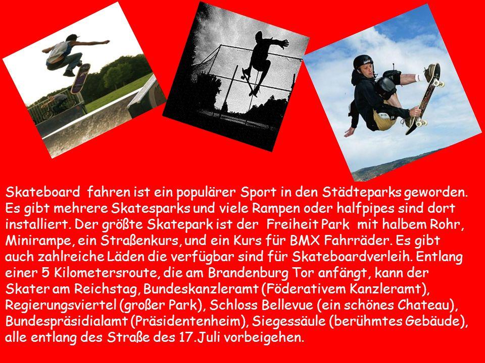 Skateboard fahren ist ein populärer Sport in den Städteparks geworden. Es gibt mehrere Skatesparks und viele Rampen oder halfpipes sind dort installie