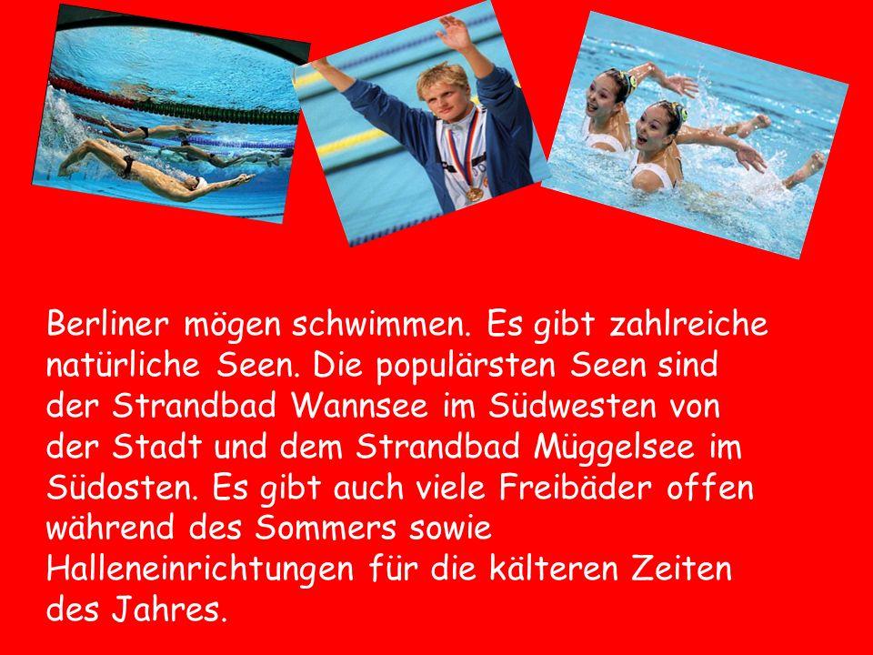 Berliner mögen schwimmen. Es gibt zahlreiche natürliche Seen. Die populärsten Seen sind der Strandbad Wannsee im Südwesten von der Stadt und dem Stran
