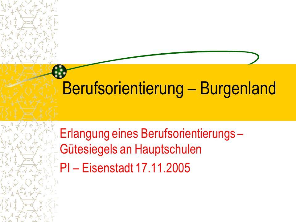 Berufsorientierung – Burgenland Erlangung eines Berufsorientierungs – Gütesiegels an Hauptschulen PI – Eisenstadt 17.11.2005
