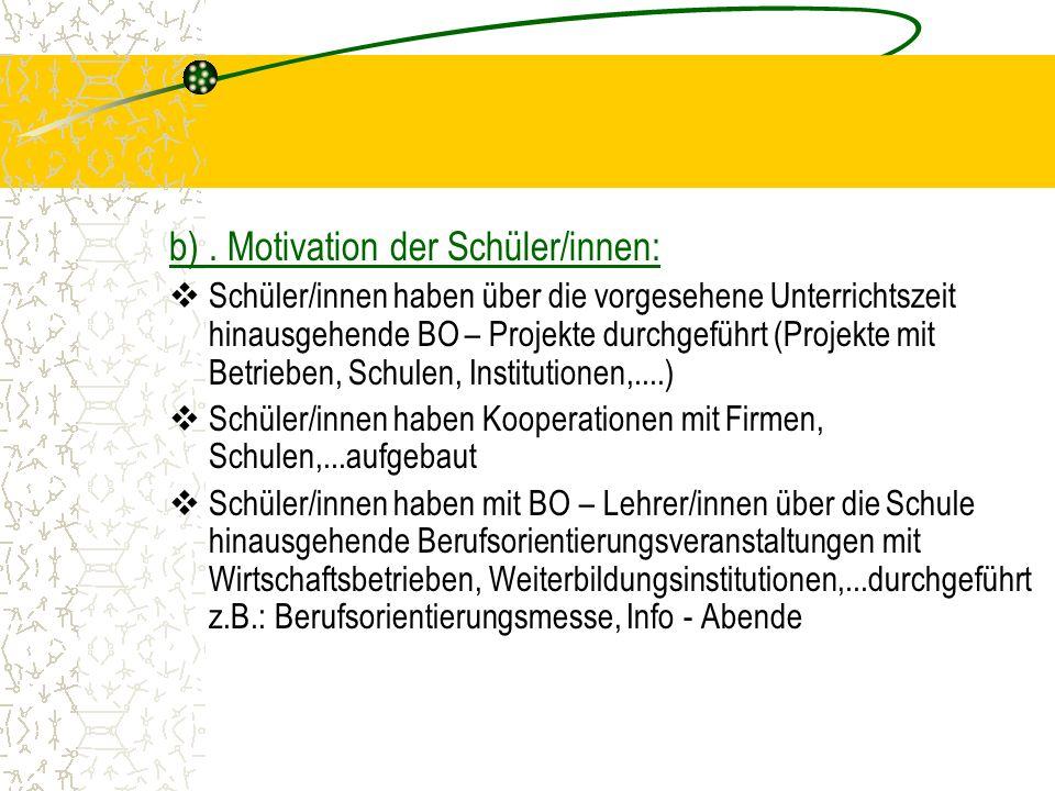 b). Motivation der Schüler/innen: Schüler/innen haben über die vorgesehene Unterrichtszeit hinausgehende BO – Projekte durchgeführt (Projekte mit Betr