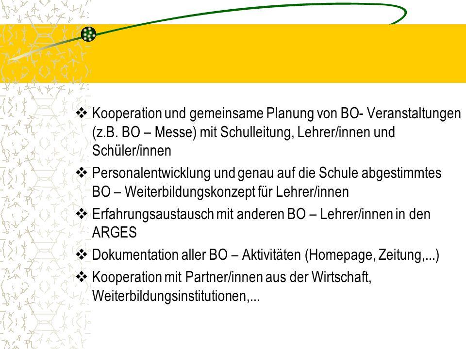 Kooperation und gemeinsame Planung von BO- Veranstaltungen (z.B.