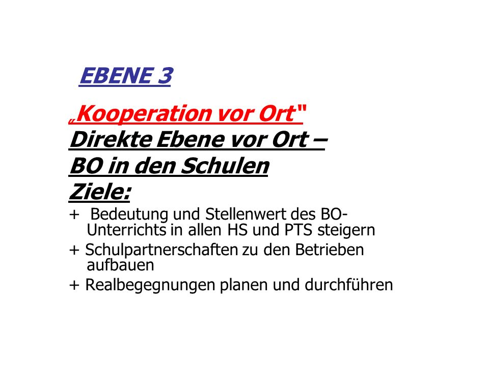 EBENE 3 Kooperation vor Ort Direkte Ebene vor Ort – BO in den Schulen Ziele: + Bedeutung und Stellenwert des BO- Unterrichts in allen HS und PTS steig