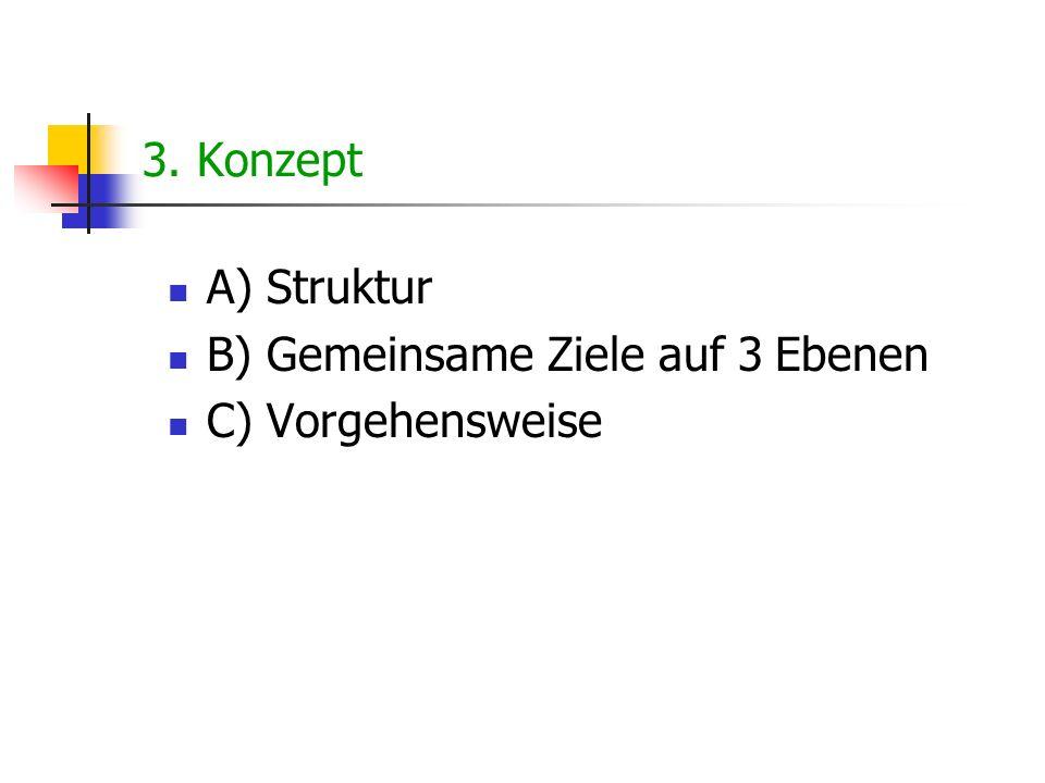 3. Konzept A) Struktur B) Gemeinsame Ziele auf 3 Ebenen C) Vorgehensweise