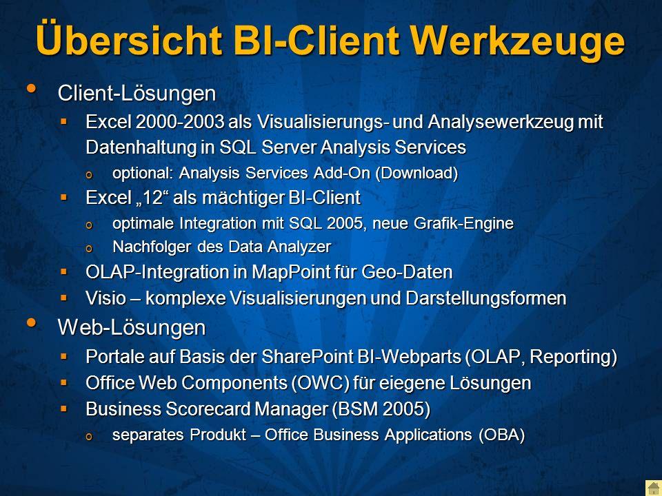 Übersicht BI-Client Werkzeuge Client-Lösungen Client-Lösungen Excel 2000-2003 als Visualisierungs- und Analysewerkzeug mit Datenhaltung in SQL Server