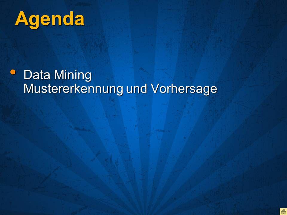 Agenda Data Mining Mustererkennung und Vorhersage Data Mining Mustererkennung und Vorhersage