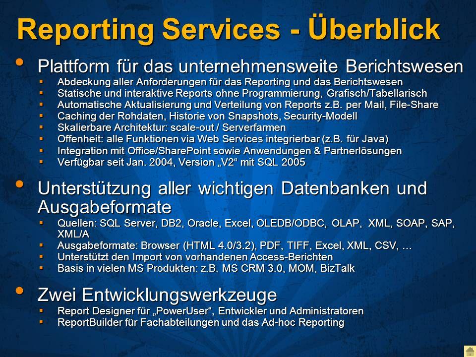 Reporting Services - Überblick Plattform für das unternehmensweite Berichtswesen Plattform für das unternehmensweite Berichtswesen Abdeckung aller Anf