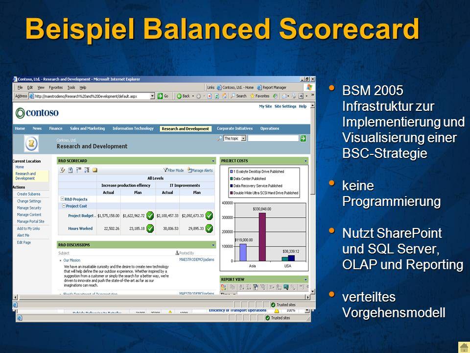Beispiel Balanced Scorecard BSM 2005 Infrastruktur zur Implementierung und Visualisierung einer BSC-Strategie BSM 2005 Infrastruktur zur Implementieru