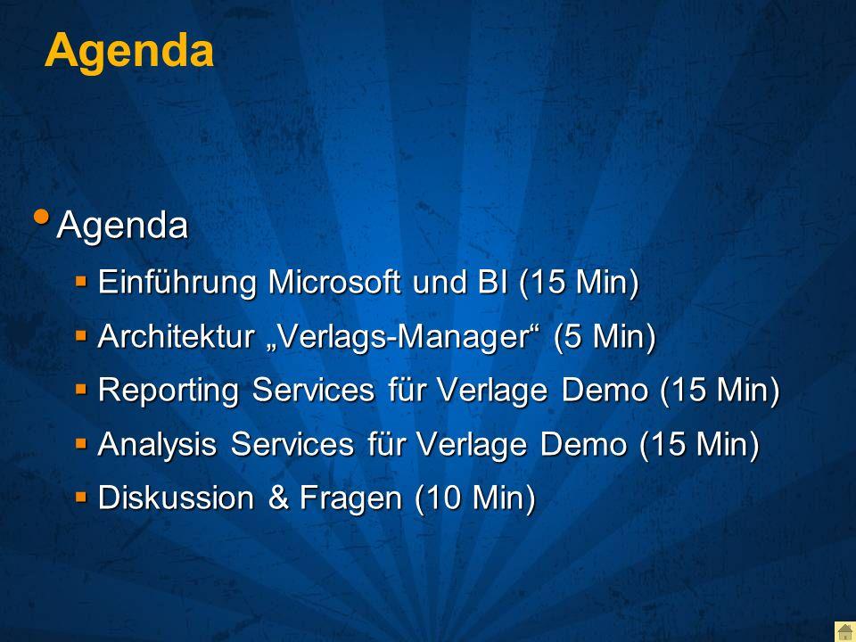Agenda Einleitung Microsoft und Business Intelligence Einleitung Microsoft und Business Intelligence