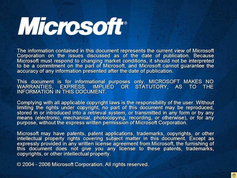 The information contained in this document represents the current view of Microsoft Corporation on the issues discussed as of the date of publication.