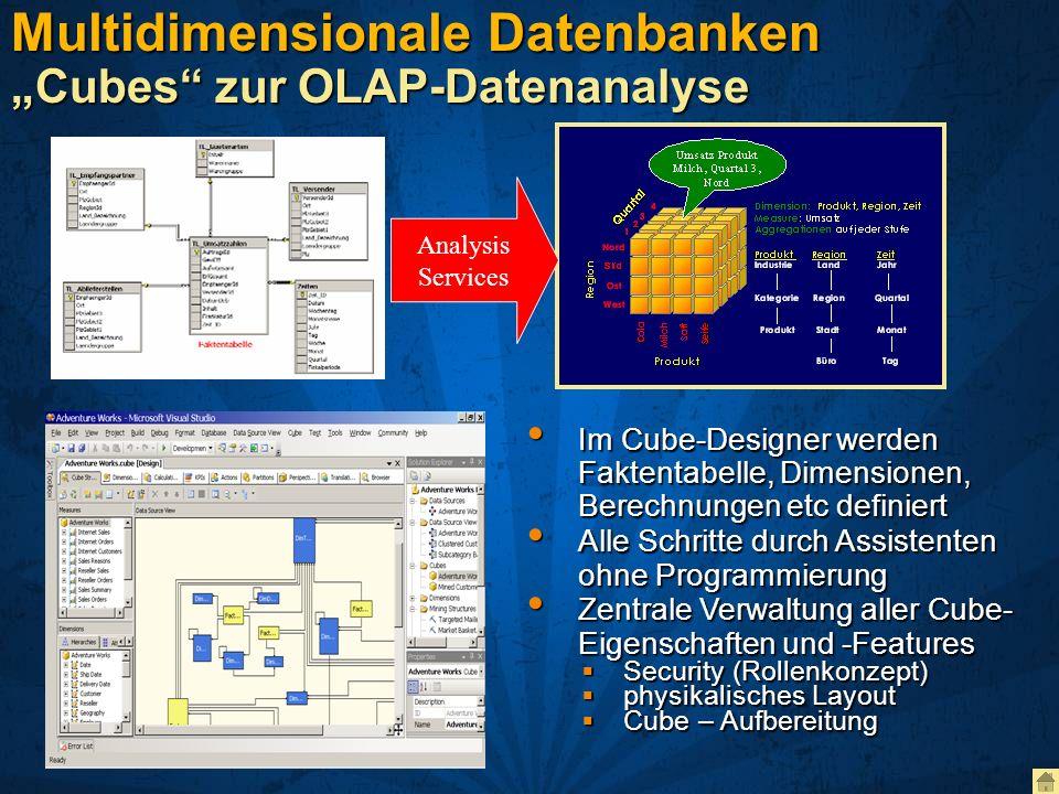 Multidimensionale Datenbanken Cubes zur OLAP-Datenanalyse Analysis Services Im Cube-Designer werden Faktentabelle, Dimensionen, Berechnungen etc defin