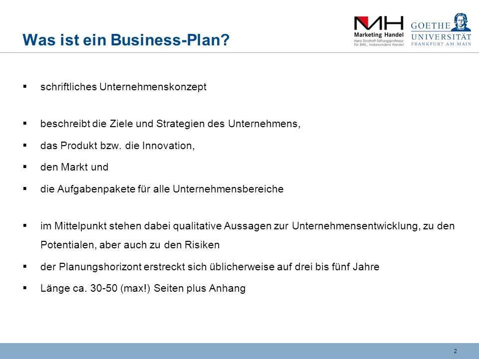 2 Was ist ein Business-Plan.