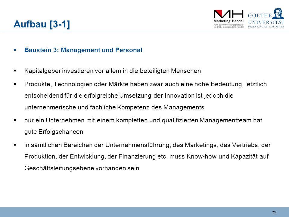 19 Aufbau [2-3] Mission, Vision und Strategie Ausgangslage / Mission: ungelöste Problemstellung des Marktes und daher ein bestehendes Marktbedürfnis d