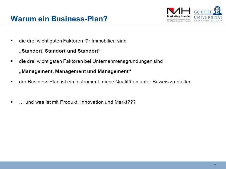 7 Warum ein Business-Plan.
