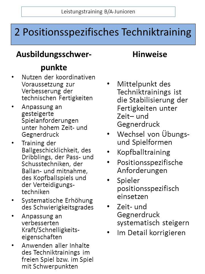 2 Positionsspezifisches Techniktraining Ausbildungsschwer- punkte Nutzen der koordinativen Voraussetzung zur Verbesserung der technischen Fertigkeiten