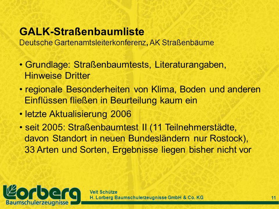 Veit Schütze H. Lorberg Baumschulerzeugnisse GmbH & Co. KG 11 GALK-Straßenbaumliste Deutsche Gartenamtsleiterkonferenz, AK Straßenbäume Grundlage: Str
