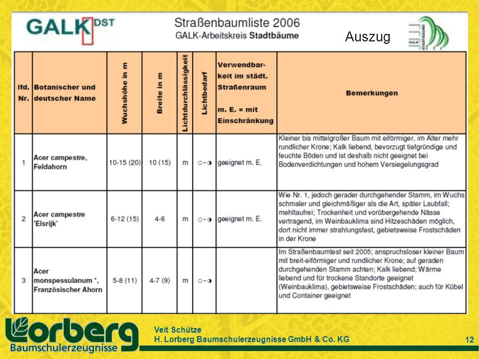 Veit Schütze H. Lorberg Baumschulerzeugnisse GmbH & Co. KG 12 Auszug