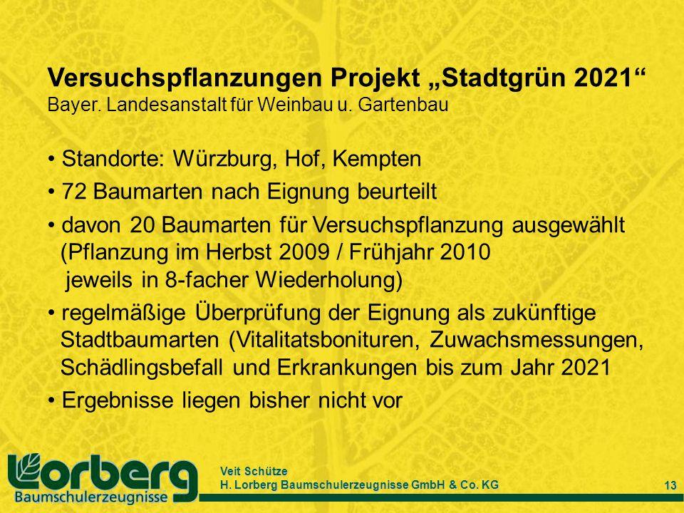 Veit Schütze H. Lorberg Baumschulerzeugnisse GmbH & Co. KG 13 Versuchspflanzungen Projekt Stadtgrün 2021 Bayer. Landesanstalt für Weinbau u. Gartenbau