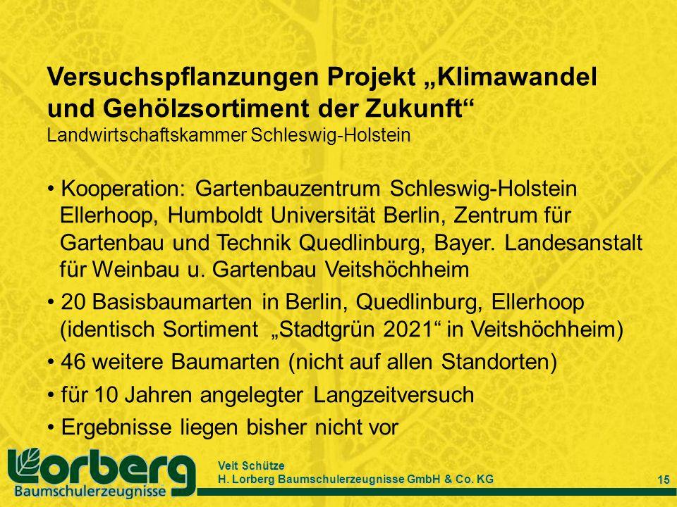 Veit Schütze H. Lorberg Baumschulerzeugnisse GmbH & Co. KG 15 Versuchspflanzungen Projekt Klimawandel und Gehölzsortiment der Zukunft Landwirtschaftsk