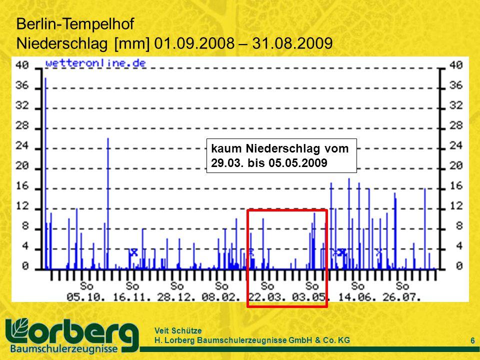 Veit Schütze H. Lorberg Baumschulerzeugnisse GmbH & Co. KG 6 Berlin-Tempelhof Niederschlag [mm] 01.09.2008 – 31.08.2009 kaum Niederschlag vom 29.03. b