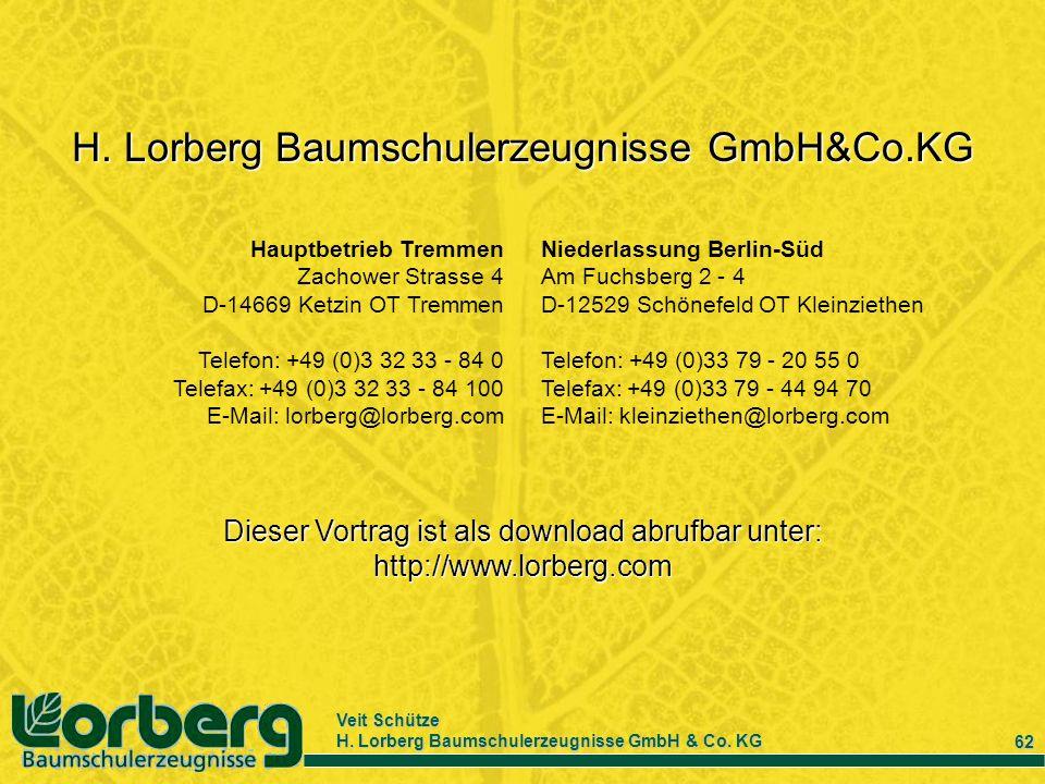 Veit Schütze H. Lorberg Baumschulerzeugnisse GmbH & Co. KG 62 Niederlassung Berlin-Süd Am Fuchsberg 2 - 4 D-12529 Schönefeld OT Kleinziethen Telefon: