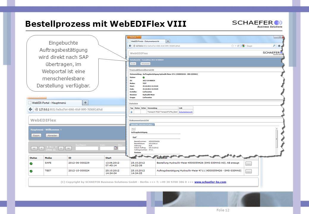 Folie 12 Bestellprozess mit WebEDIFlex VIII Eingebuchte Auftragsbestätigung wird direkt nach SAP übertragen, im Webportal ist eine menschenlesbare Dar