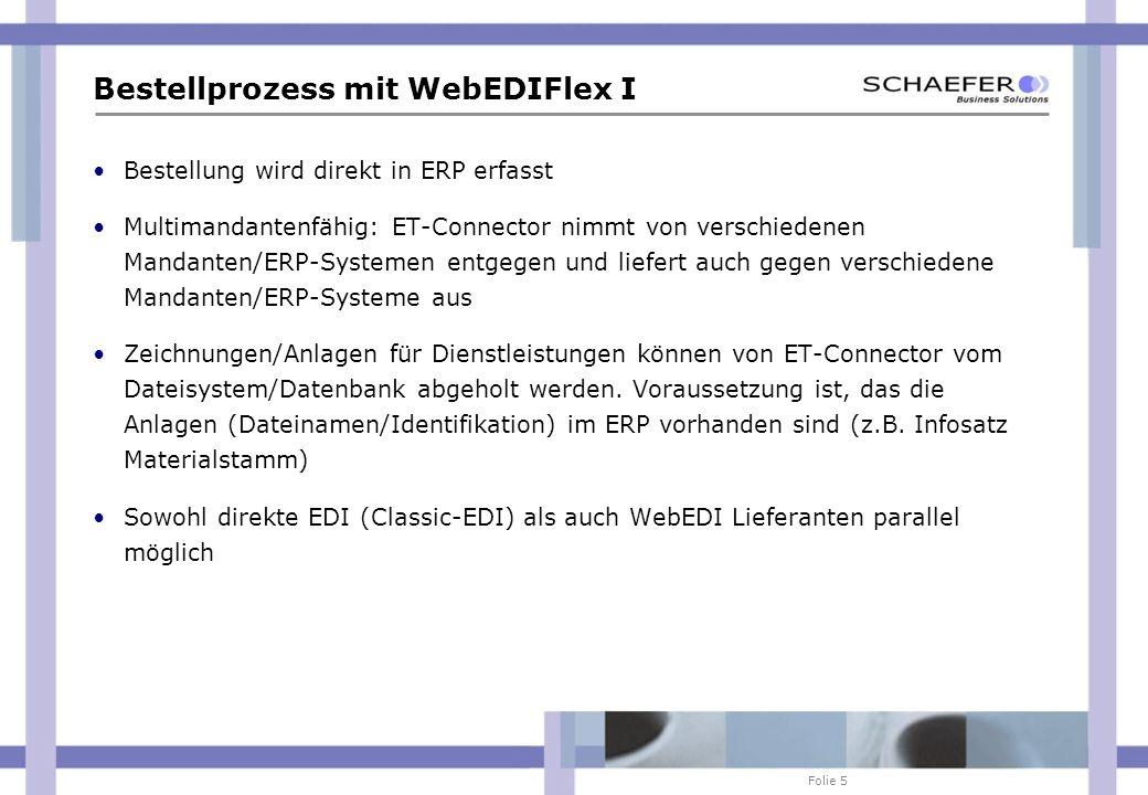 Folie 5 Bestellprozess mit WebEDIFlex I Bestellung wird direkt in ERP erfasst Multimandantenfähig: ET-Connector nimmt von verschiedenen Mandanten/ERP-