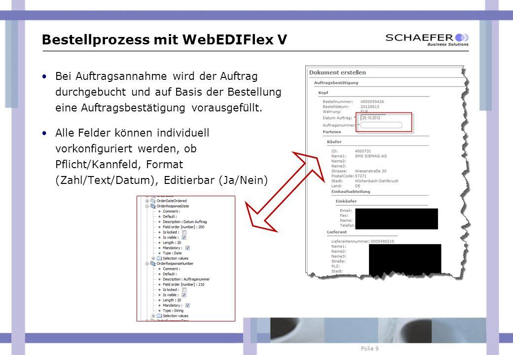 Folie 9 Bestellprozess mit WebEDIFlex V Bei Auftragsannahme wird der Auftrag durchgebucht und auf Basis der Bestellung eine Auftragsbestätigung voraus