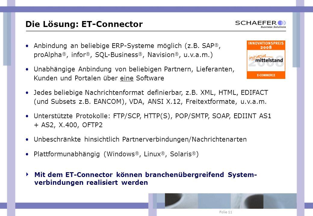 Folie 11 Die Lösung: ET-Connector Anbindung an beliebige ERP-Systeme möglich (z.B. SAP ®, proAlpha ®, infor ®, SQL-Business ®, Navision ®, u.v.a.m.) U