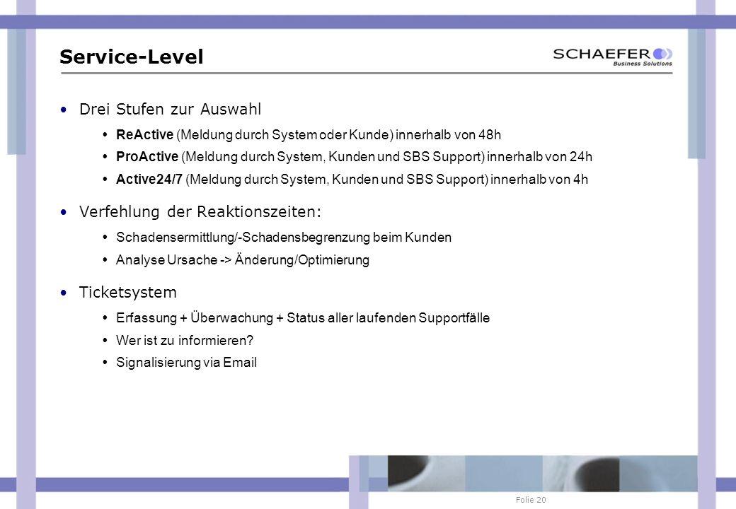 Folie 20 Service-Level Drei Stufen zur Auswahl ReActive (Meldung durch System oder Kunde) innerhalb von 48h ProActive (Meldung durch System, Kunden un