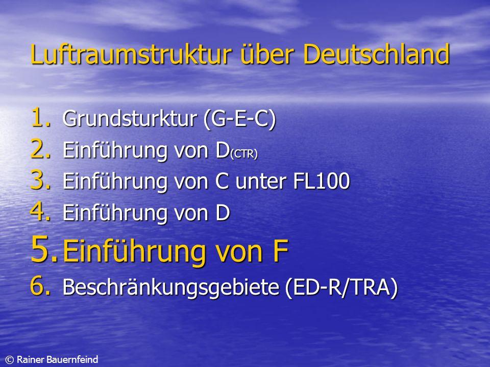 © Rainer Bauernfeind Luftraumstruktur über Deutschland 1. Grundsturktur (G-E-C) 2. Einführung von D (CTR) 3. Einführung von C unter FL100 4. Einführun