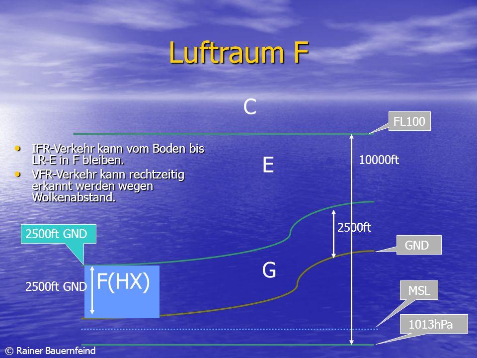 © Rainer Bauernfeind Luftraum F IFR-Verkehr kann vom Boden bis LR-E in F bleiben. IFR-Verkehr kann vom Boden bis LR-E in F bleiben. VFR-Verkehr kann r