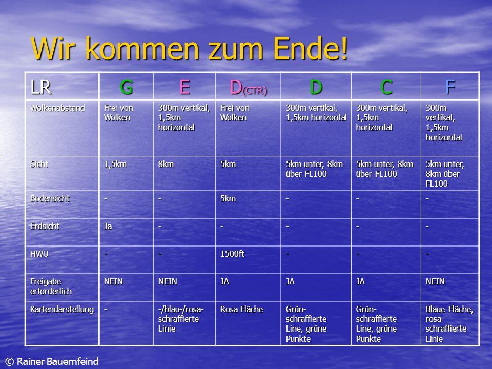 © Rainer Bauernfeind Wir kommen zum Ende! LRGE D (CTR) DCF Wolkenabstand Frei von Wolken 300m vertikal, 1,5km horizontal Frei von Wolken 300m vertikal