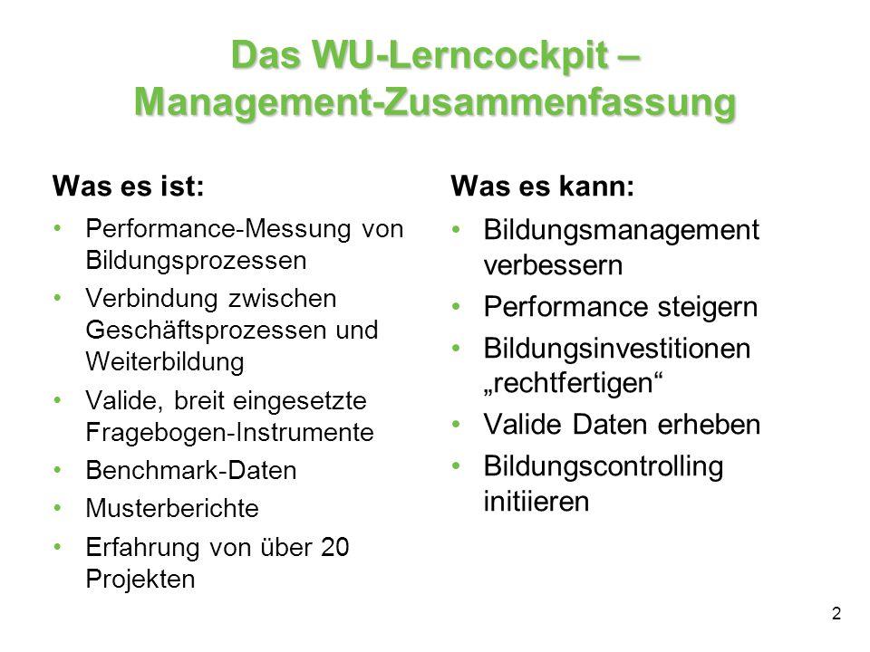 Das WU-Lerncockpit – Management-Zusammenfassung Was es ist: Performance-Messung von Bildungsprozessen Verbindung zwischen Geschäftsprozessen und Weite