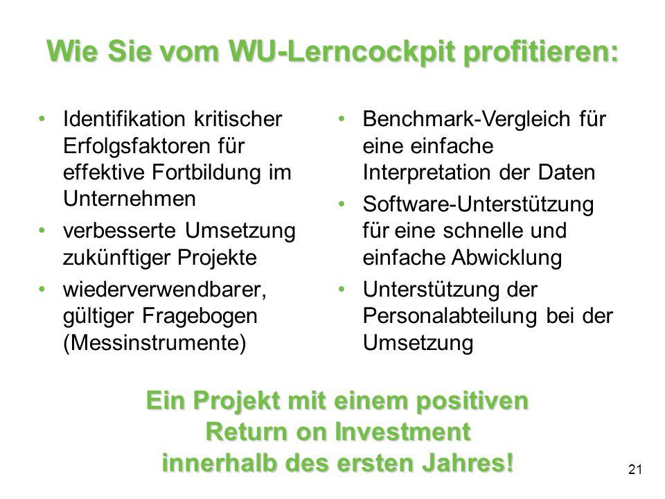 21 Wie Sie vom WU-Lerncockpit profitieren: Identifikation kritischer Erfolgsfaktoren für effektive Fortbildung im Unternehmen verbesserte Umsetzung zu