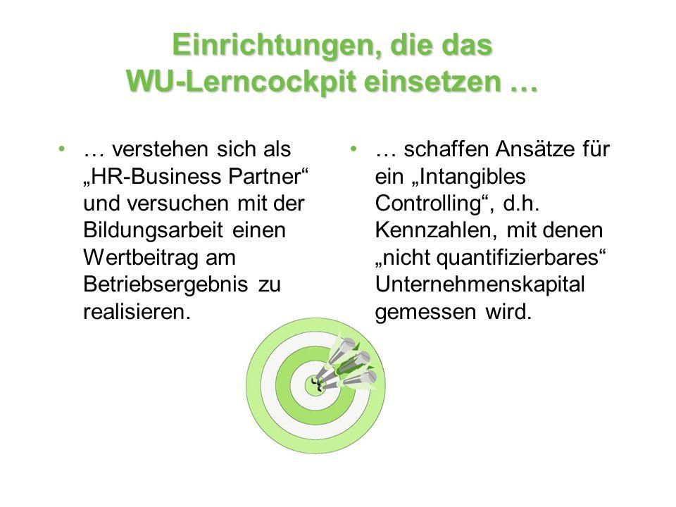 Einrichtungen, die das WU-Lerncockpit einsetzen … … verstehen sich als HR-Business Partner und versuchen mit der Bildungsarbeit einen Wertbeitrag am B