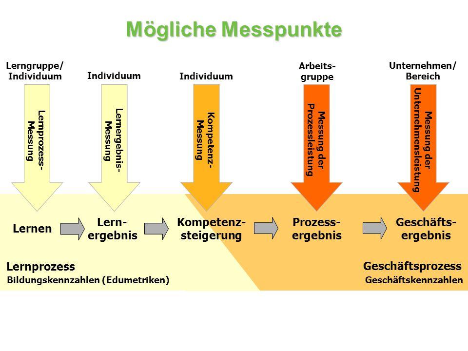 Mögliche Messpunkte Lern- ergebnis Prozess- ergebnis Geschäfts- ergebnis Geschäftsprozess Lernprozess Lernen Kompetenz- steigerung Geschäftskennzahlen