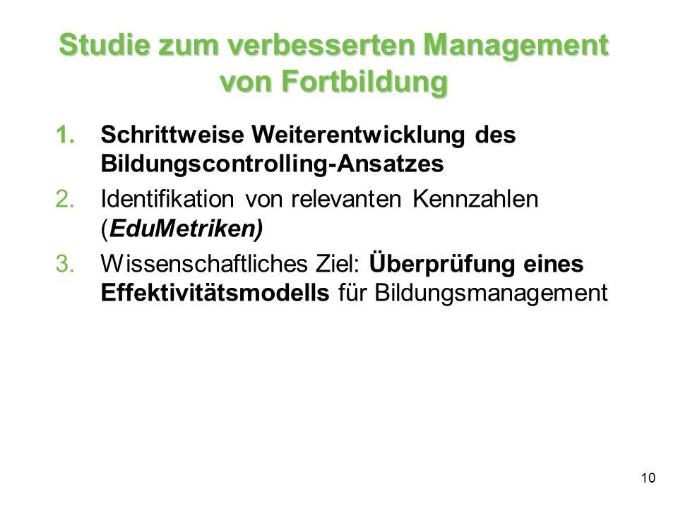 10 Studie zum verbesserten Management von Fortbildung 1.Schrittweise Weiterentwicklung des Bildungscontrolling-Ansatzes 2.Identifikation von relevante