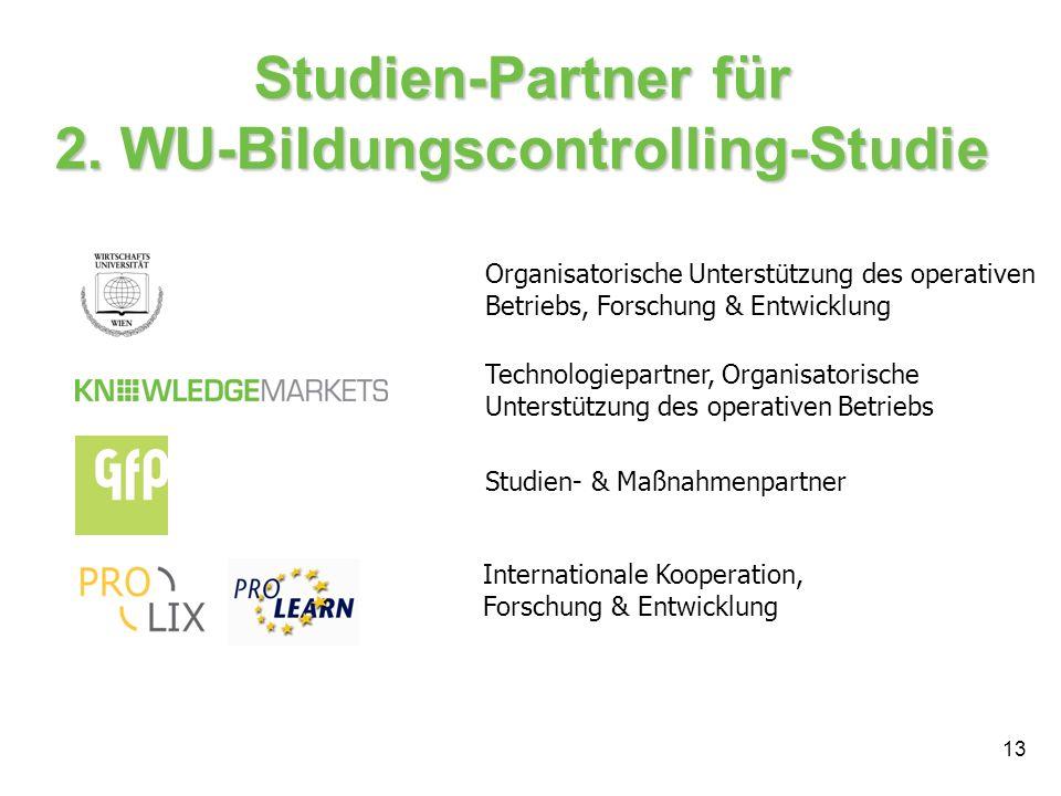 13 Studien-Partner für 2. WU-Bildungscontrolling-Studie Technologiepartner, Organisatorische Unterstützung des operativen Betriebs Internationale Koop