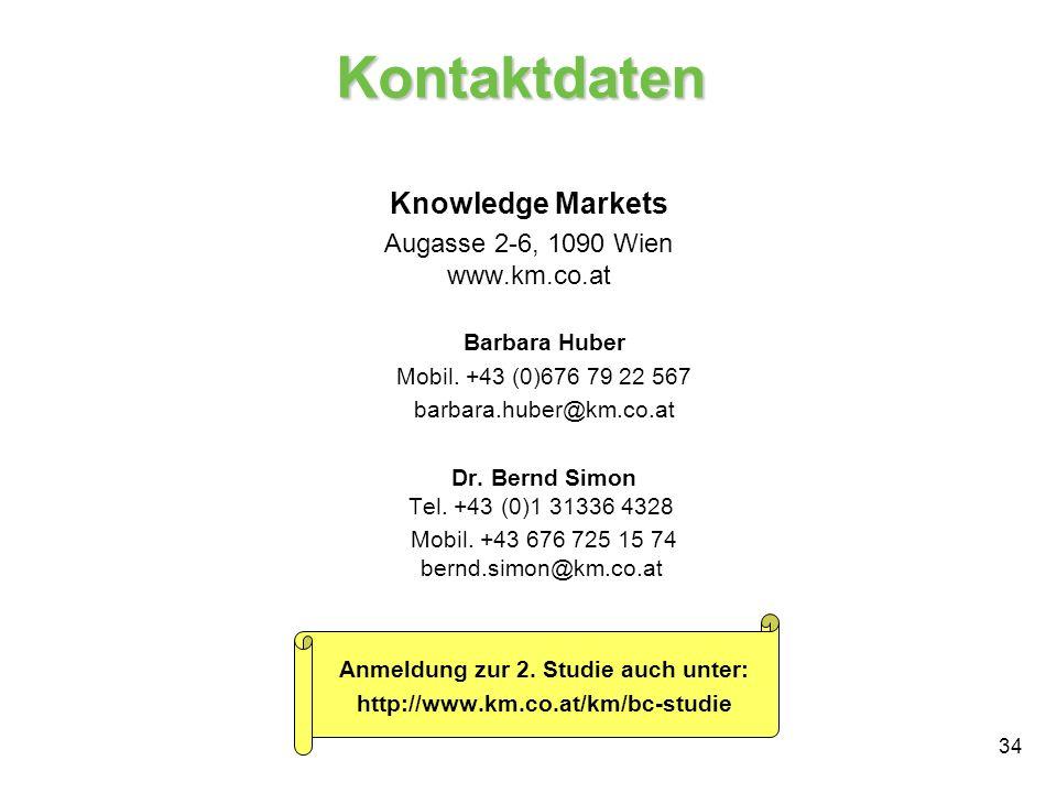 34 Kontaktdaten Knowledge Markets Augasse 2-6, 1090 Wien www.km.co.at Barbara Huber Mobil. +43 (0)676 79 22 567 barbara.huber@km.co.at Dr. Bernd Simon
