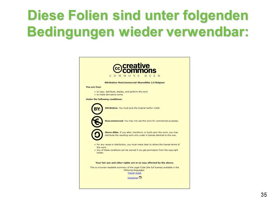 35 Diese Folien sind unter folgenden Bedingungen wieder verwendbar: