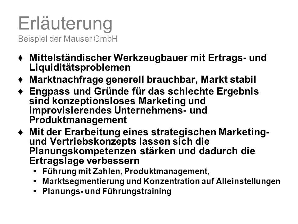Erläuterung Beispiel der Mauser GmbH Mittelständischer Werkzeugbauer mit Ertrags- und Liquiditätsproblemen Marktnachfrage generell brauchbar, Markt st