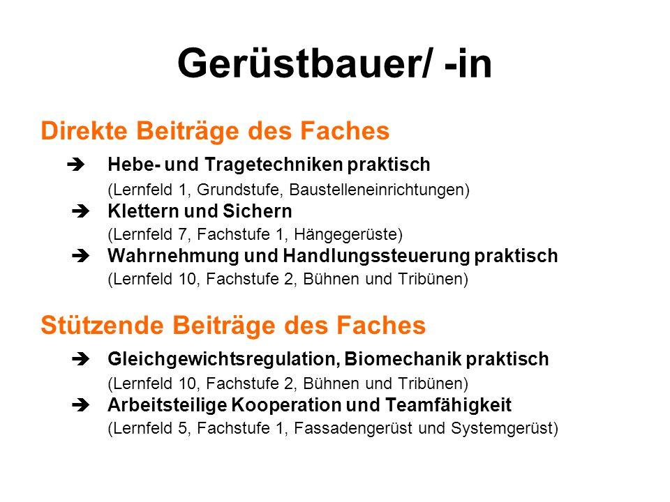 Gerüstbauer/ -in Direkte Beiträge des Faches Hebe- und Tragetechniken praktisch (Lernfeld 1, Grundstufe, Baustelleneinrichtungen) Klettern und Sichern