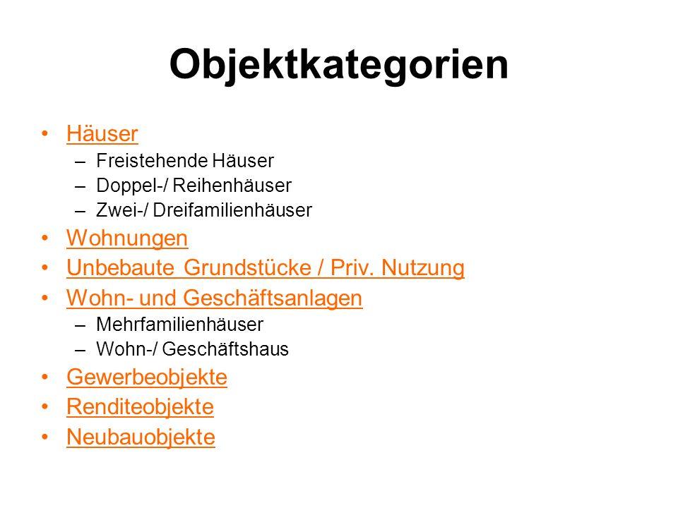 Objektkategorien Häuser –Freistehende Häuser –Doppel-/ Reihenhäuser –Zwei-/ Dreifamilienhäuser Wohnungen Unbebaute Grundstücke / Priv. Nutzung Wohn- u
