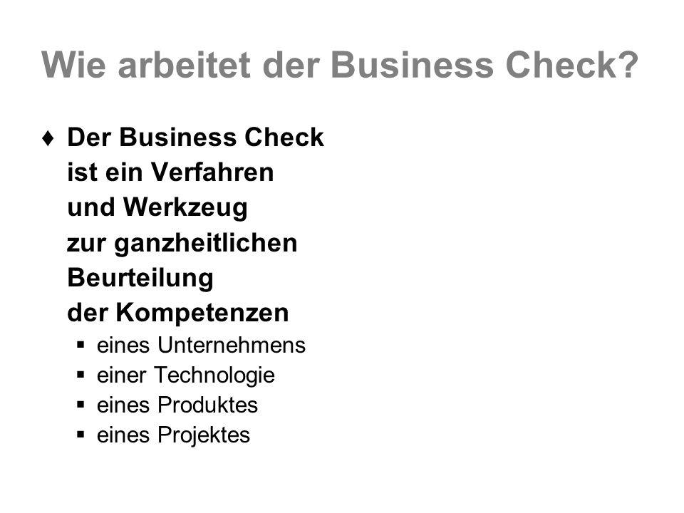 Wie arbeitet der Business Check? Der Business Check ist ein Verfahren und Werkzeug zur ganzheitlichen Beurteilung der Kompetenzen eines Unternehmens e