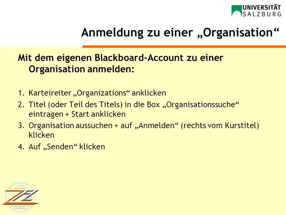 Anmeldung zu einer Organisation Mit dem eigenen Blackboard-Account zu einer Organisation anmelden: 1.Karteireiter Organizations anklicken 2.Titel (ode