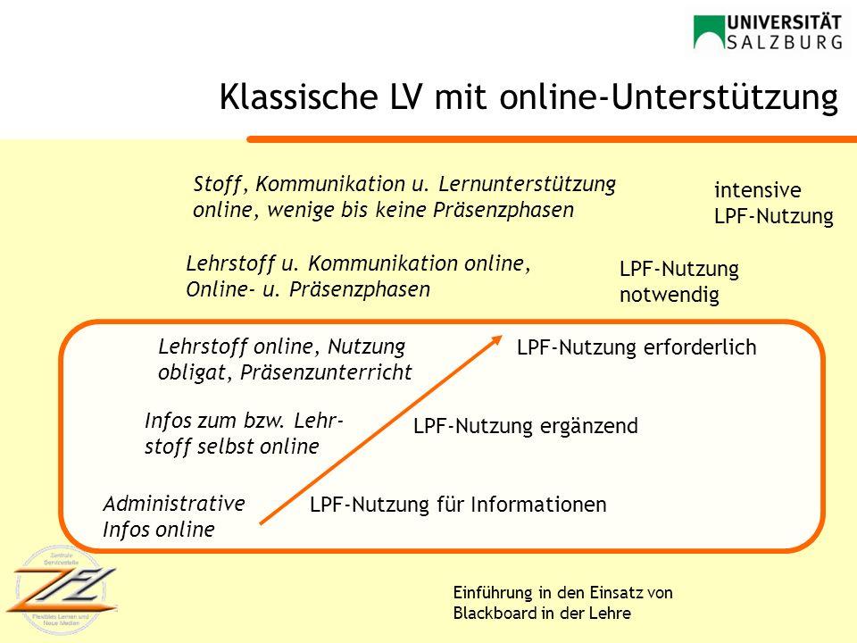 Einführung in den Einsatz von Blackboard in der Lehre LPF-Nutzung für Informationen LPF-Nutzung ergänzend LPF-Nutzung erforderlich LPF-Nutzung notwend